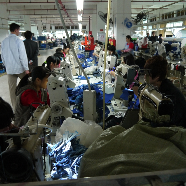 Shoe production sewing line